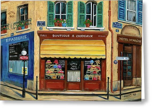 Paris Shops Greeting Cards - French Hats and Purses Boutique Greeting Card by Marilyn Dunlap