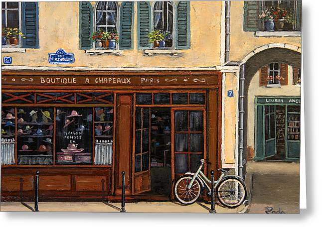Store Fronts Greeting Cards - French Hats Boutique Greeting Card by Radoslav Nedelchev