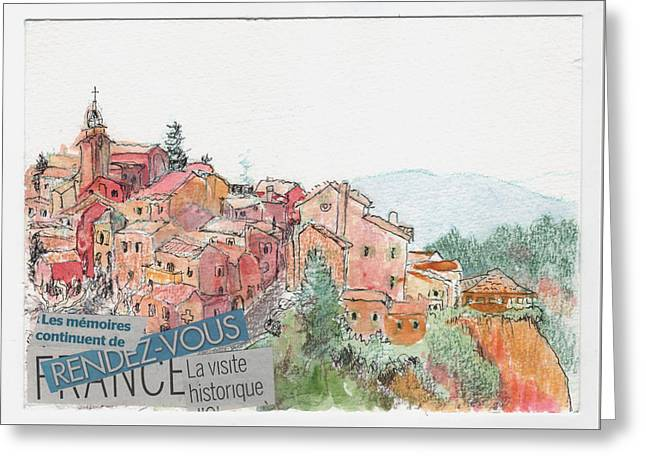 French Hill Top Village Greeting Card by Tilly Strauss