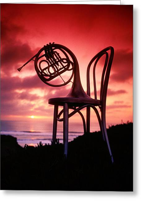 Concept Photographs Greeting Cards - French horn on chair Greeting Card by Garry Gay