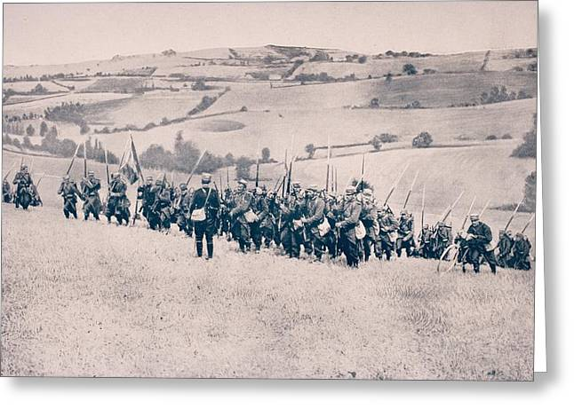 French Infantry Advancing Through Greeting Card by Vintage Design Pics