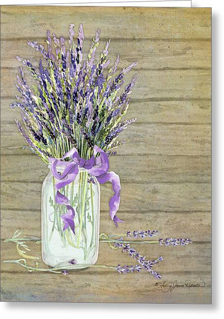 Green Glass Greeting Cards - French Lavender Rustic Country Mason Jar Bouquet on Wooden Fence Greeting Card by Audrey Jeanne Roberts