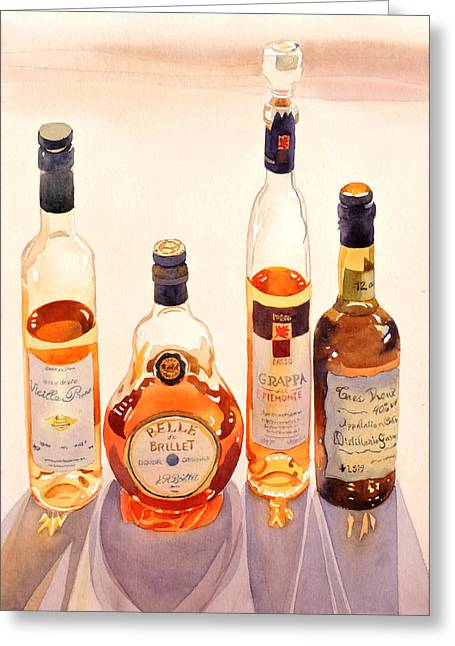 Cognac Greeting Cards - French Liqueurs Greeting Card by Mary Helmreich