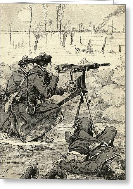 Wwi Greeting Cards - French Machine Gun Team At The Battle Greeting Card by Ken Welsh
