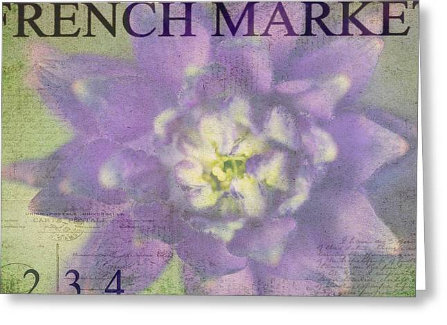Purples Greeting Cards - French Market Series H Greeting Card by Rebecca Cozart