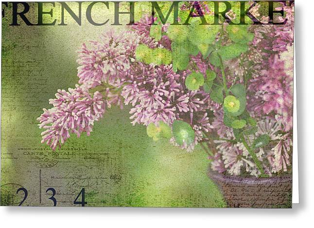 Lilac Greeting Cards - French Market Series M Greeting Card by Rebecca Cozart