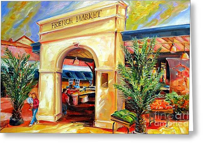 French Open Paintings Greeting Cards - French Market Sunshine Greeting Card by Diane Millsap