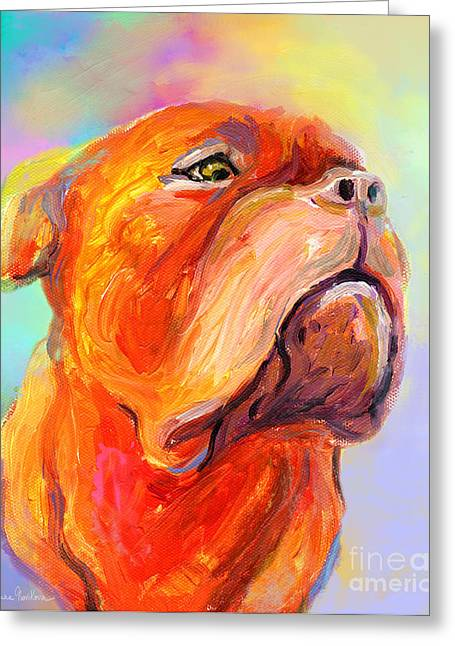 Whimsical Mixed Media Greeting Cards - French Mastiff Bordeaux dog painting print Greeting Card by Svetlana Novikova