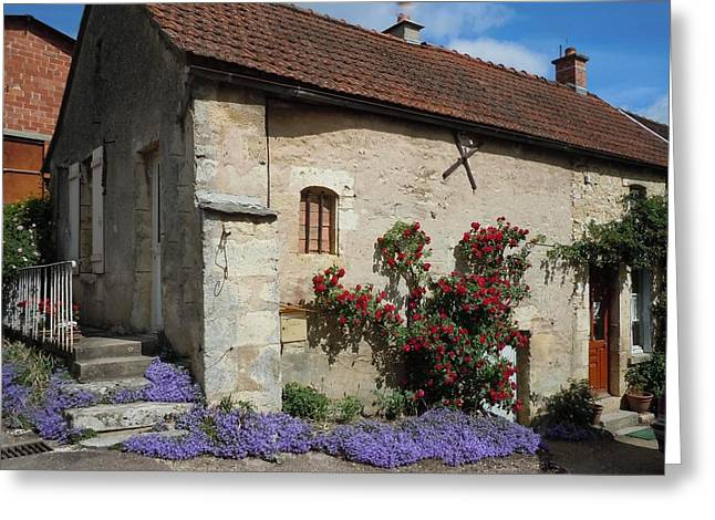 Blue Flowers Greeting Cards - French Medieval House With Flowers Greeting Card by Marilyn Dunlap