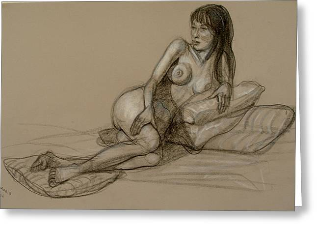 Nude Greeting Cards - French Model Greeting Card by Donelli  DiMaria