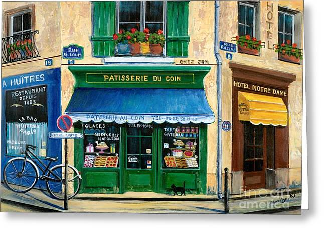 Corner Greeting Cards - French Pastry Shop Greeting Card by Marilyn Dunlap