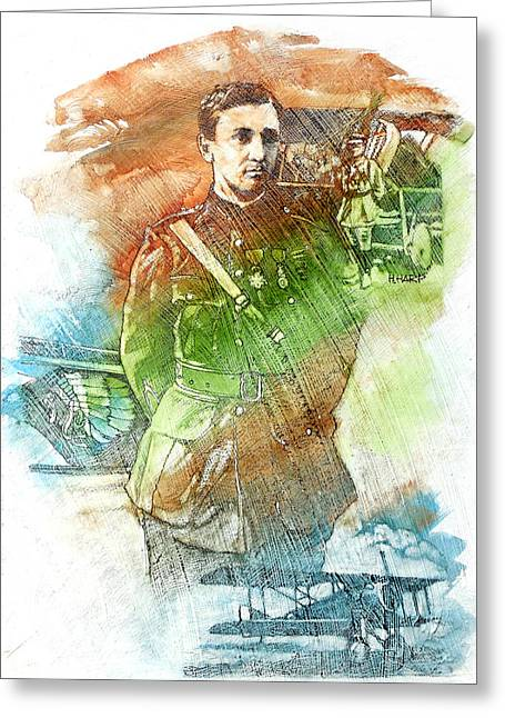 Sienna Greeting Cards - French Pilot Greeting Card by Harley Dean Harp
