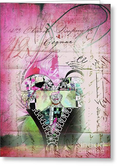 Empower Greeting Cards - French Pink Heart Greeting Card by Anahi DeCanio