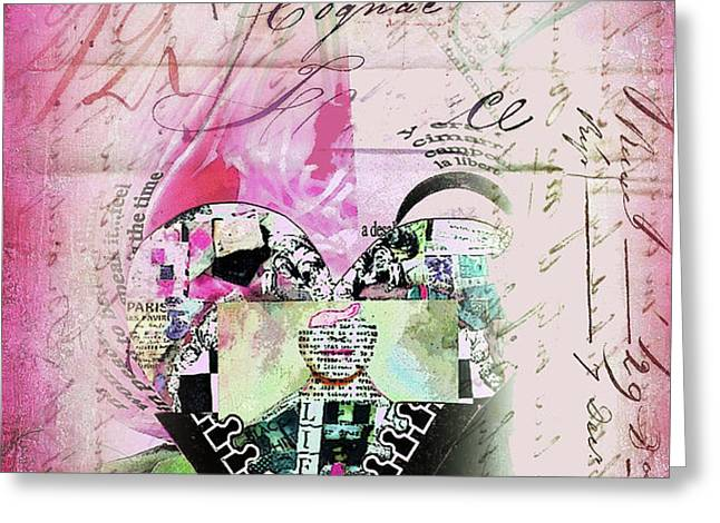 French Pink Heart Greeting Card by Anahi DeCanio