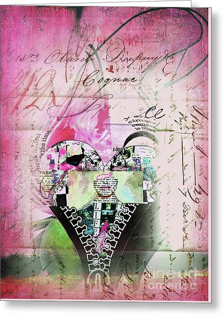 Mulher Greeting Cards - French Pink Heart Greeting Card by ArtyZen Home