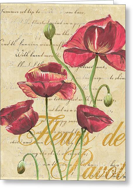 Blossoms Mixed Media Greeting Cards - French Pink Poppies Greeting Card by Debbie DeWitt