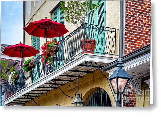 New Orleans Greeting Cards - French Quarter Balcony and Umbrellas - NOLA Greeting Card by Kathleen K Parker