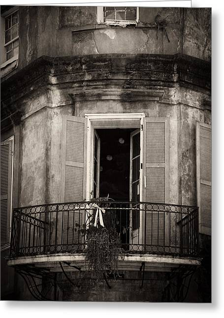 Chrystal Greeting Cards - French Quarter Balcony in Black and White Greeting Card by Chrystal Mimbs
