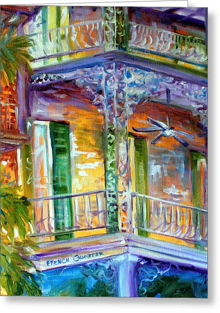 Iron Rail Greeting Cards - French Quarter Cityscape Greeting Card by Marcia Baldwin