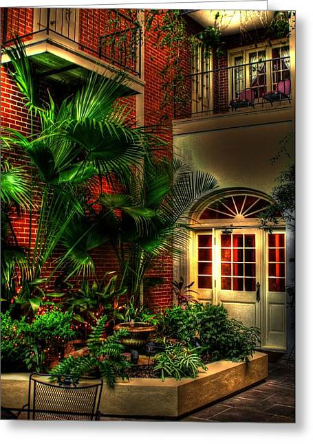 French Doors Greeting Cards - French Quarter Courtyard Greeting Card by Greg and Chrystal Mimbs