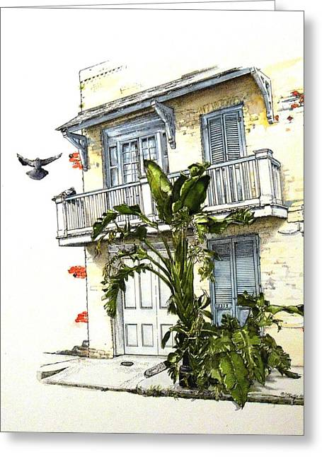 French Quarter Crib Greeting Card by D K Betts
