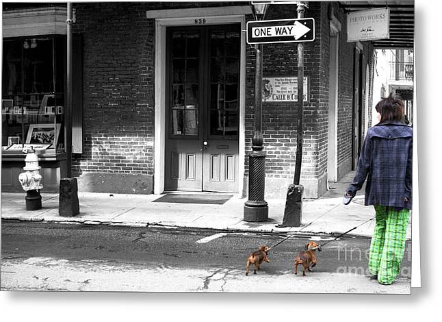 Photo Art Gallery Greeting Cards - French Quarter Dog Walking Fusion Greeting Card by John Rizzuto
