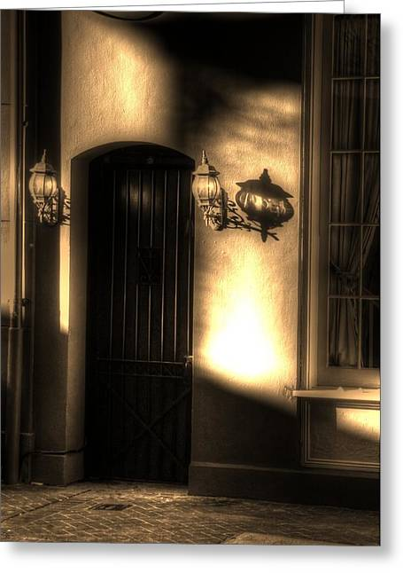 French Quarter Door Greeting Card by Greg and Chrystal Mimbs
