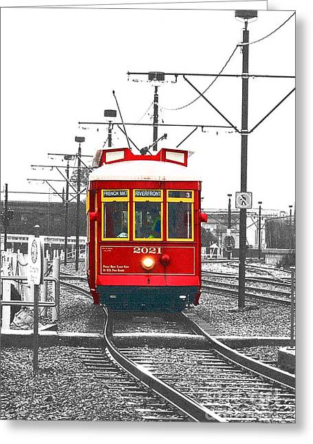 Travelpixpro Greeting Cards - French Quarter French Market Cable Car New Orleans Color Splash Black and White with Film Grain Greeting Card by Shawn O