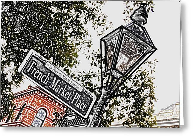New Orleans Greeting Cards - French Quarter French Market Street Sign New Orleans Colored Pencil Digital Art Greeting Card by Shawn O