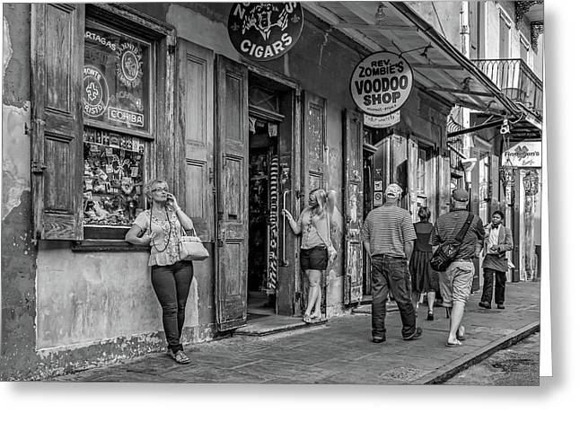 French Quarter - People Watching Bw Greeting Card by Steve Harrington