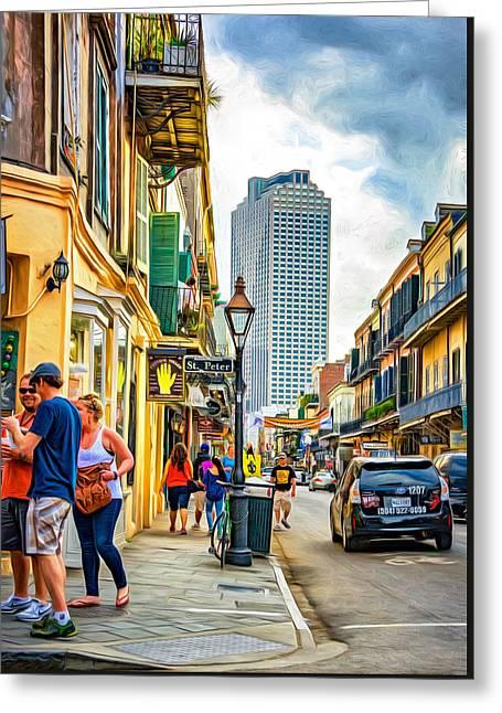 French Quarter Sidewalk 2 - Paint Greeting Card by Steve Harrington