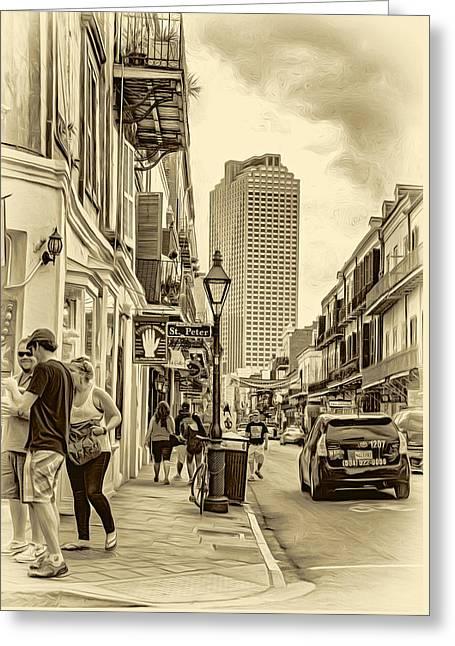 French Quarter Sidewalk 2 - Sepia Greeting Card by Steve Harrington