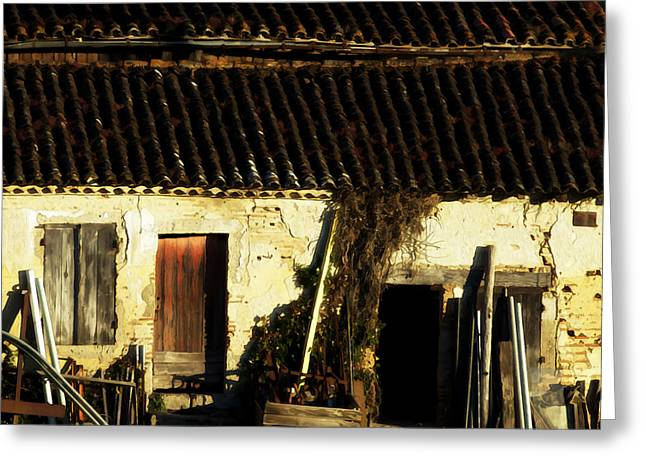 French Shed at Sunset Greeting Card by Marion McCristall