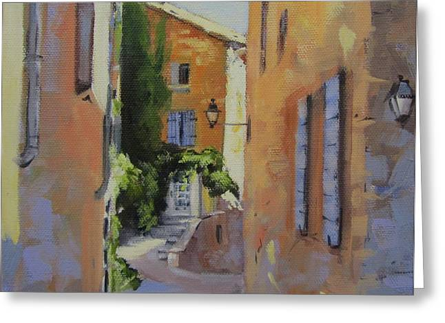 Provence Village Greeting Cards - French Street Greeting Card by Chris Hobel