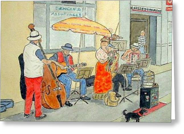 French Street Musicians Greeting Card by Peter Farrow