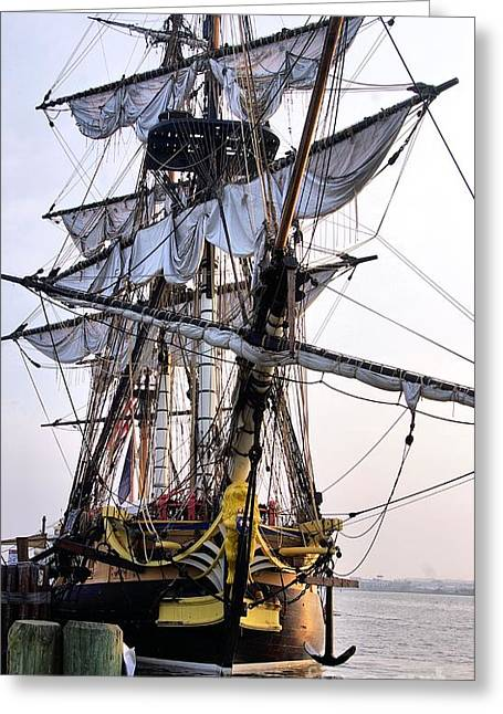 Wooden Ship Greeting Cards - French Tall Ship Hermione  Greeting Card by John S