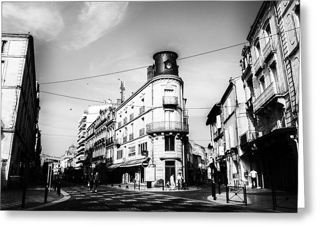 South West France Greeting Cards - French Town in Mono Greeting Card by Nomad Art And  Design