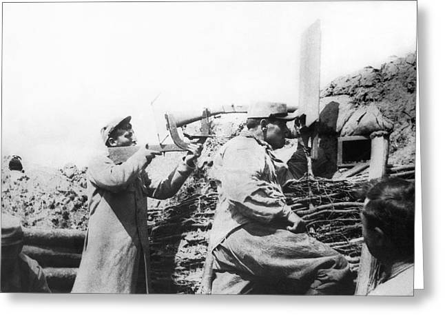 Trench Warfare Greeting Cards - French Trench Periscope Greeting Card by Underwood Archives