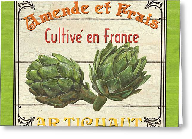Fresh Green Paintings Greeting Cards - French Vegetable Sign 2 Greeting Card by Debbie DeWitt