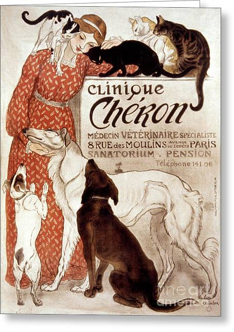Posters Of Women Photographs Greeting Cards - French Veterinary Clinic Greeting Card by Granger