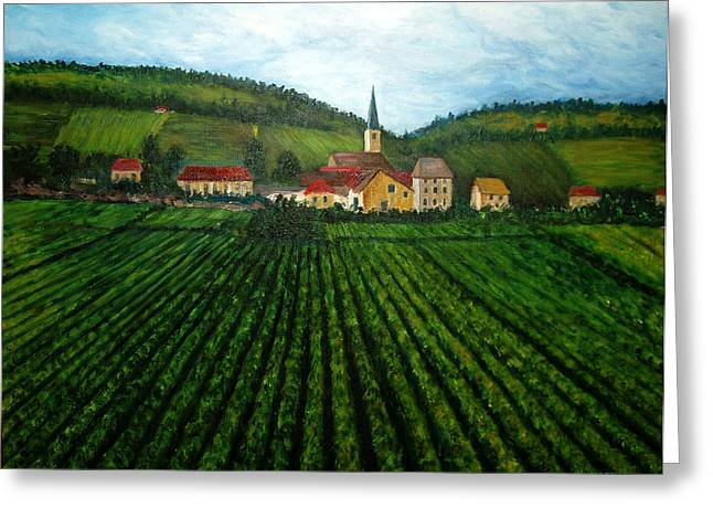 Grape Vine Greeting Cards - French Village in the Vineyards Greeting Card by Nancy Mueller