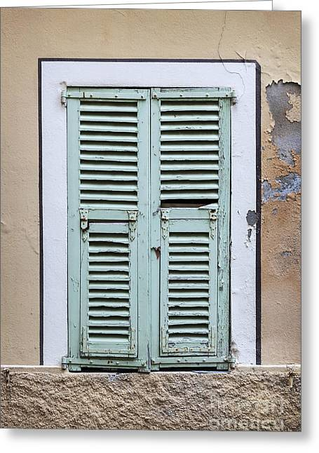 Mediterranean Village Greeting Cards - French window with shutters Greeting Card by Elena Elisseeva