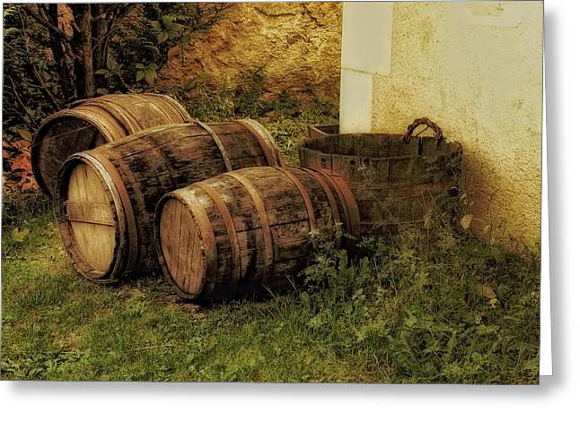 Wine Scene Greeting Cards - French Wine Barrels 2 Greeting Card by Greg Matchick