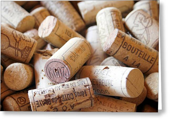 Table Greeting Cards - French Wine Corks Greeting Card by Georgia Fowler