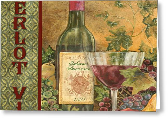 Grape Leaves Greeting Cards - French Wine-JP3096 Greeting Card by Jean Plout