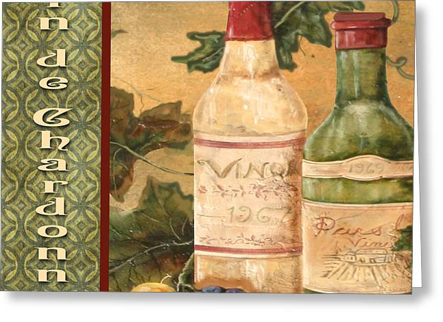 Grape Leaves Digital Greeting Cards - French Wine-JP3097 Greeting Card by Jean Plout