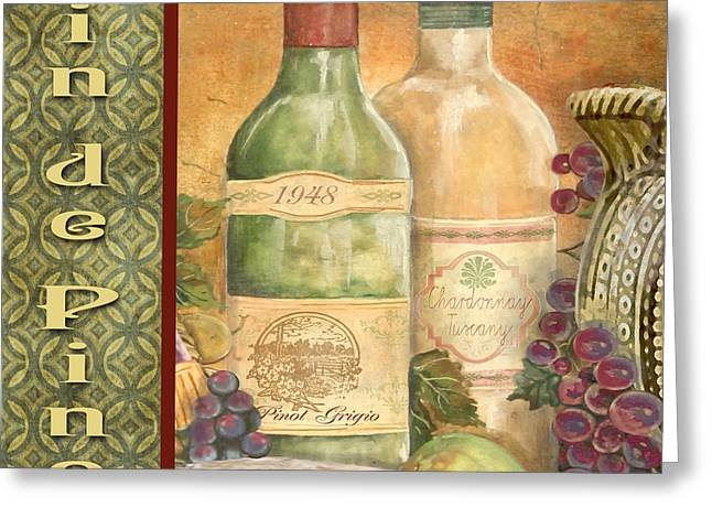 Grape Leaves Greeting Cards - French Wine-JP3098 Greeting Card by Jean Plout