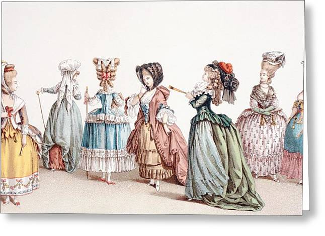 Women. Eighteenth Century Greeting Cards - French Women S Fashions During The Greeting Card by Ken Welsh