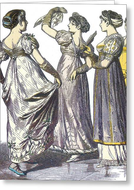 Apparel Greeting Cards - French Womens Fashion, 1808-09 Greeting Card by Science Source