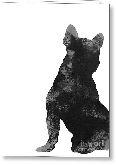 Frenchie Minimalist Painting For Nursery Room Greeting Card by Joanna Szmerdt